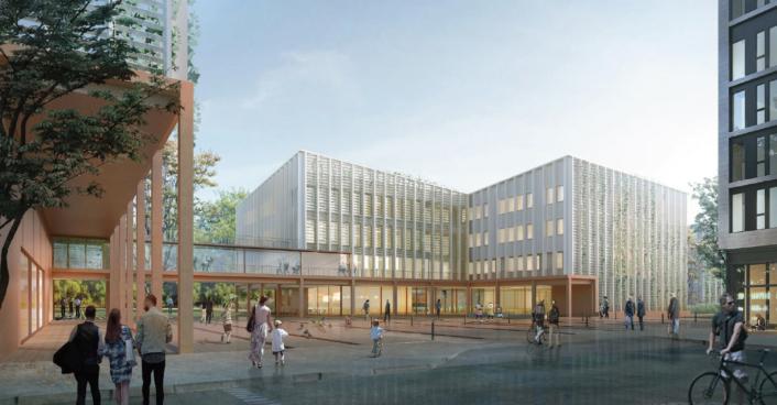 Preis Auszeichnung Wettbewerb Architekturwettbewerb Schule Gymnasium Düsseldorf Rendering Visualisierung