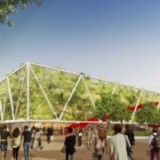 Sporthalle Dortmunder U Vierfachsporthalle Visualisierung Rendering Stadtgarten Parkraum